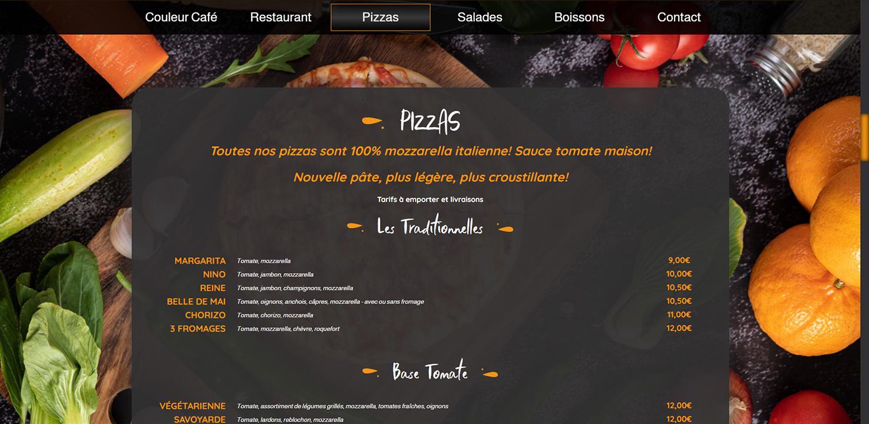 création de site internet pizzeria